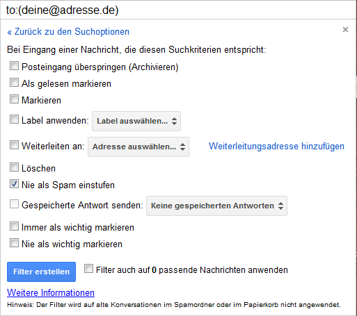 Gmail Filter Einstellungen