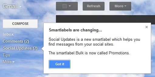 Gmail Social Updates Smart Labels