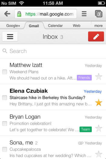 Gmail mobile version