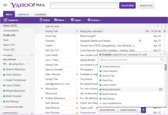 Yahoo mail chat customizable