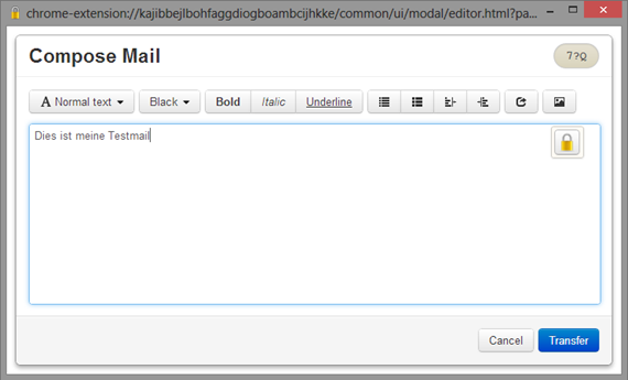 OpenPGP Gmail Editorfenster